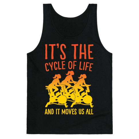 It's The Cycle of Life Spinning Parody White Print Tank Top