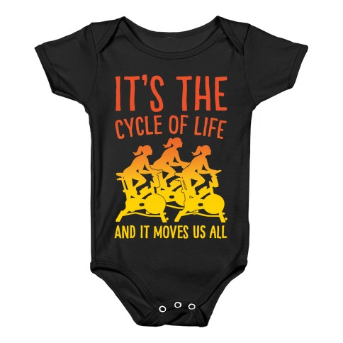 It's The Cycle of Life Spinning Parody White Print Baby Onesy