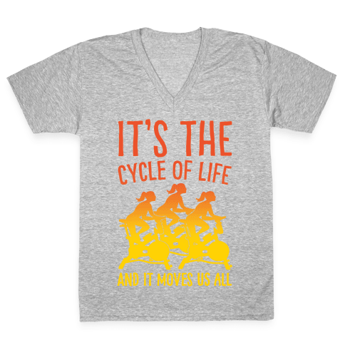 It's The Cycle of Life Spinning Parody White Print V-Neck Tee Shirt
