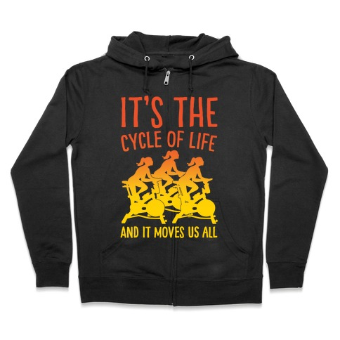 It's The Cycle of Life Spinning Parody White Print Zip Hoodie
