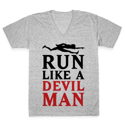 Run Like A Devilman V-Neck Tee Shirt
