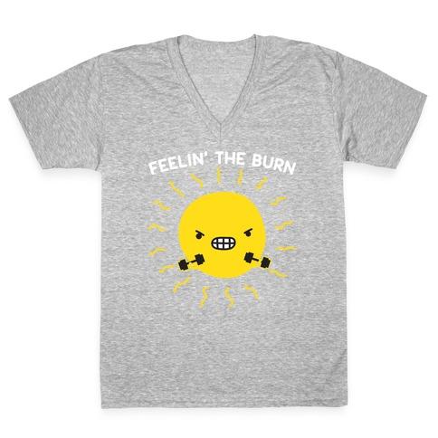 Feelin' The Burn Fitness Sun V-Neck Tee Shirt