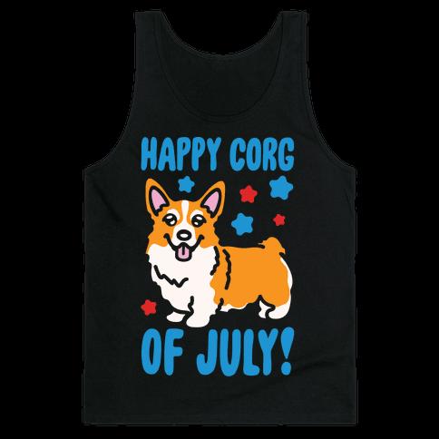 Happy Corg Of July Parody White Print Tank Top
