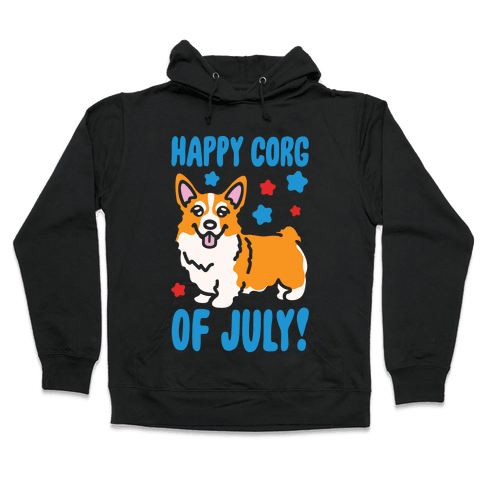 Happy Corg Of July Parody White Print Hooded Sweatshirt