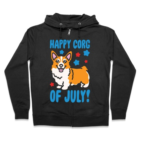 Happy Corg Of July Parody White Print Zip Hoodie