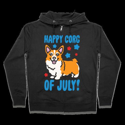 Happy Corg Of July Parody White Print Zip Hoodie