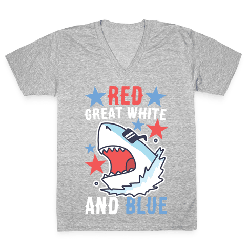 Red, Great White and Blue V-Neck Tee Shirt