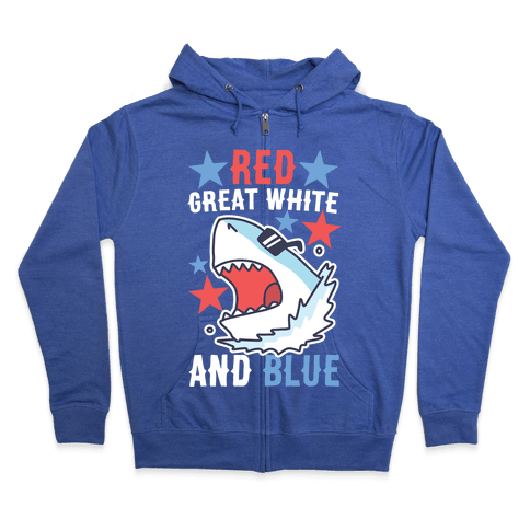 Red, Great White and Blue Zip Hoodie