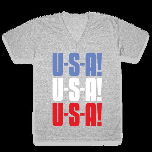 U-S-A! U-S-A! U-S-A! V-Neck Tee Shirt