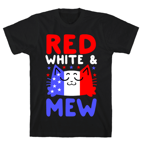 Red, White, And Mew Mens/Unisex T-Shirt
