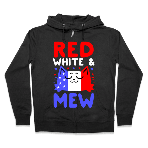 Red, White, And Mew Zip Hoodie