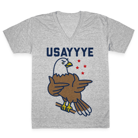 USAYYYE Bald Eagle V-Neck Tee Shirt