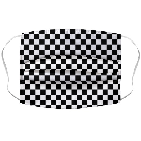 Checkered Black and White Face Mask Cover