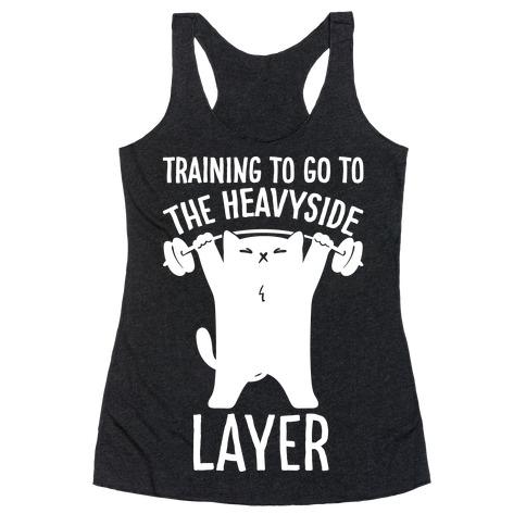 Training To Go To The Heavyside Layer Parody White Print Racerback Tank Top