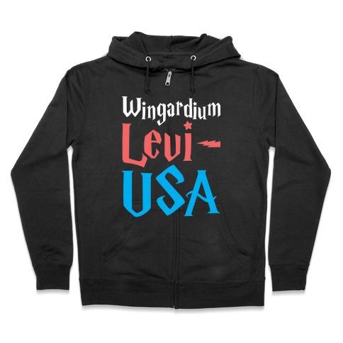 Wingardium Levi-USA Zip Hoodie