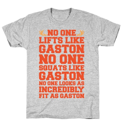 No One Lifts Like Gaston Parody White Print T-Shirt