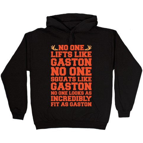 No One Lifts Like Gaston Parody White Print Hooded Sweatshirt