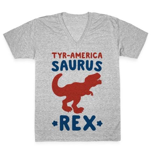 Tyr-America-Saurus Rex Parody V-Neck Tee Shirt