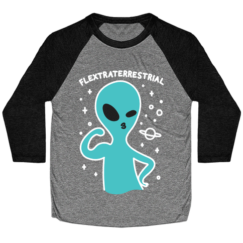 Flextraterrestrial Flexing Alien Baseball Tee