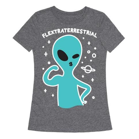 Flextraterrestrial Flexing Alien Womens T-Shirt