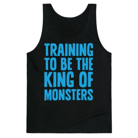 Training To Be The King of Monsters Parody White Print Tank Top