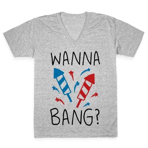 Wanna Bang Fireworks V-Neck Tee Shirt