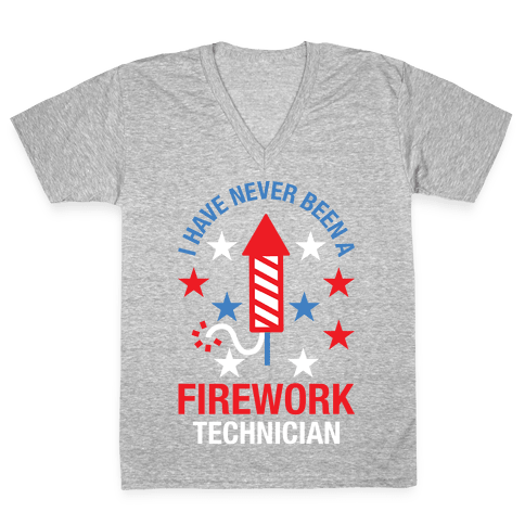 Firework Technician Red White and Blue V-Neck Tee Shirt