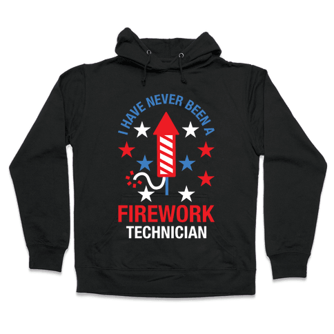 Firework Technician Red White and Blue Hooded Sweatshirt