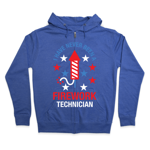 Firework Technician Red White and Blue Zip Hoodie