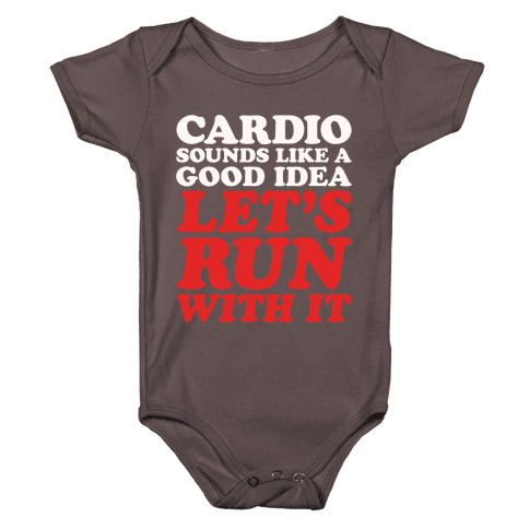 Cardio Let's Run With It White Print Baby One-Piece
