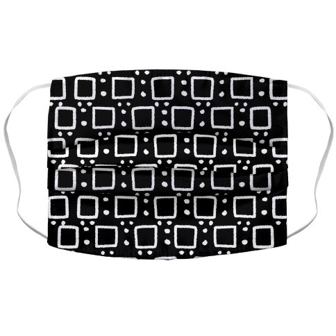 Square and Dot Rustic Black and White Boho Pattern Face Mask