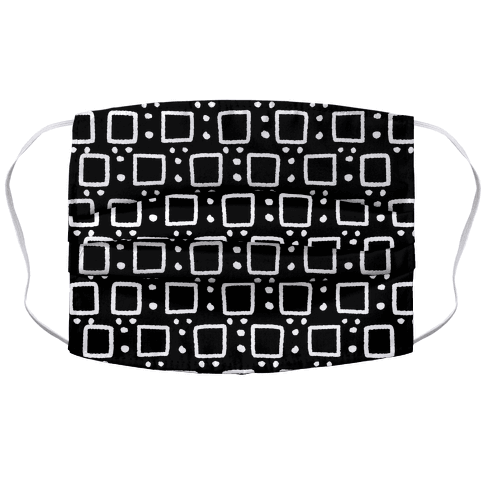 Square and Dot Rustic Black and White Boho Pattern Accordion Face Mask
