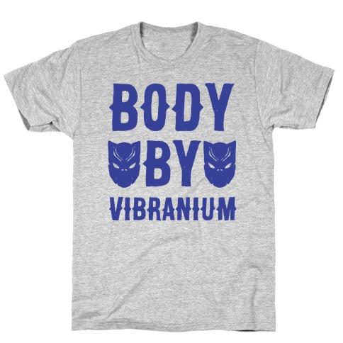 Body By Vibranium Parody White Print T-Shirt