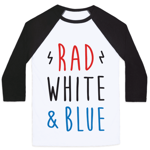 Rad White & Blue Baseball Tee
