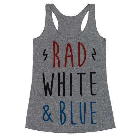 Rad White & Blue Racerback Tank Top