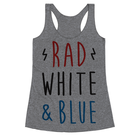 Rad White & Blue Racerback Tank Top