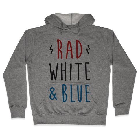Rad White & Blue Hooded Sweatshirt