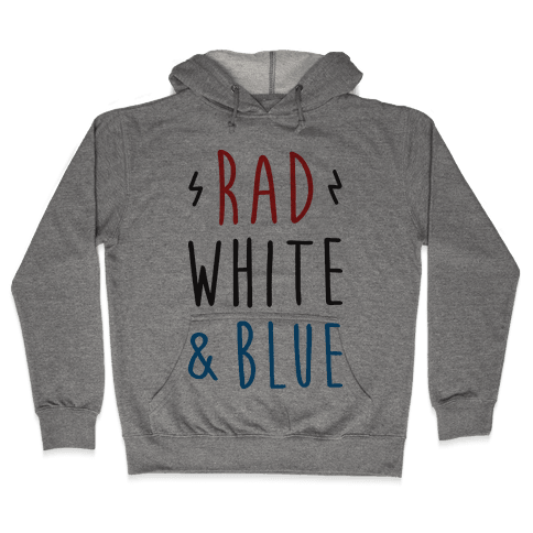 Rad White & Blue Hooded Sweatshirt