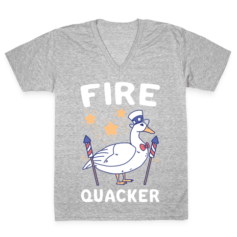 Fire Quacker  V-Neck Tee Shirt