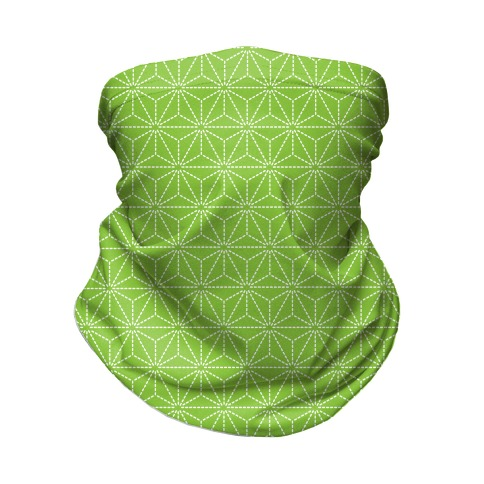 Sashiko Asanoha (Bright Green) Neck Gaiter