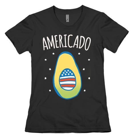 Americado Parody White Print Womens T-Shirt