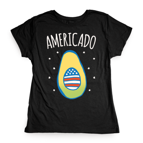 Americado Parody White Print Womens T-Shirt