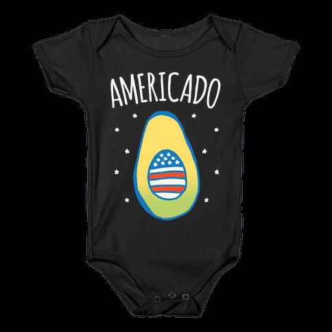 Americado Parody White Print Baby Onesy