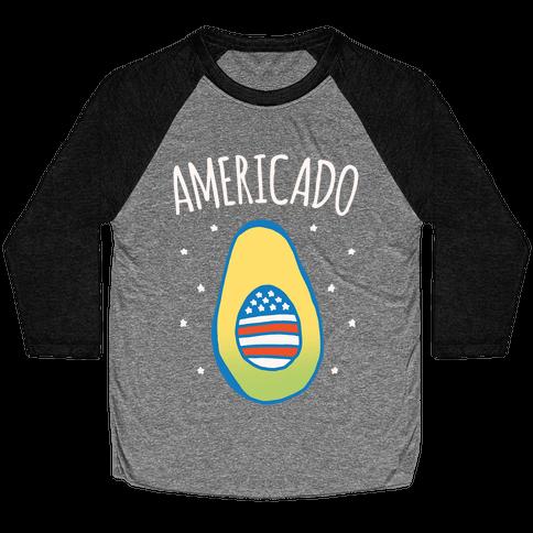 Americado Parody White Print Baseball Tee