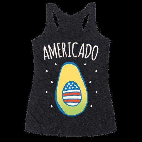 Americado Parody White Print Racerback Tank Top