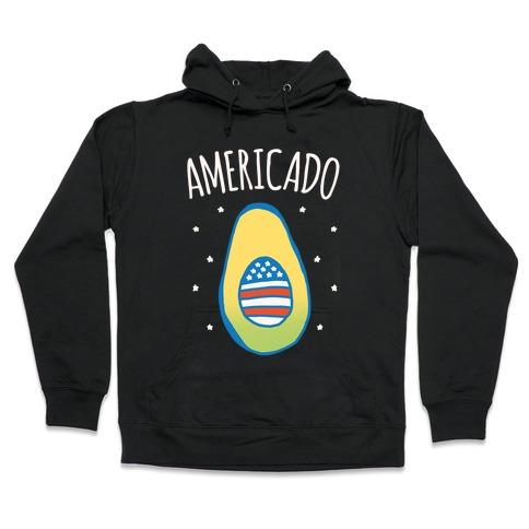 Americado Parody White Print Hooded Sweatshirt