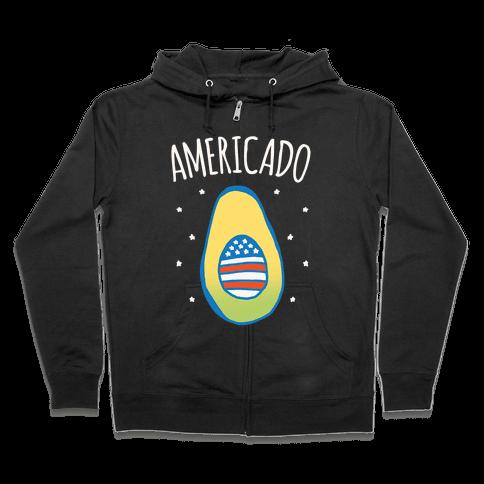 Americado Parody White Print Zip Hoodie