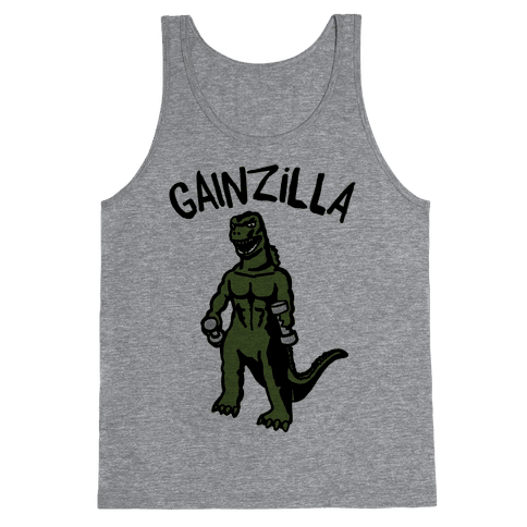 Gainzilla Lifting Parody Tank Top