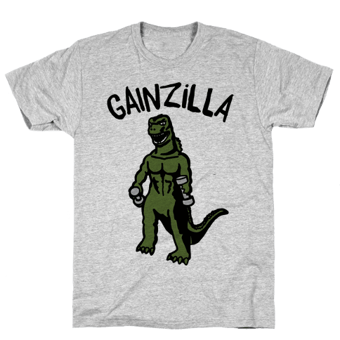 Gainzilla Lifting Parody Mens/Unisex T-Shirt
