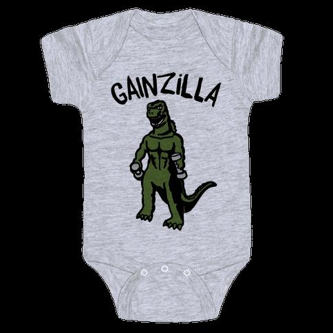 Gainzilla Lifting Parody Baby Onesy